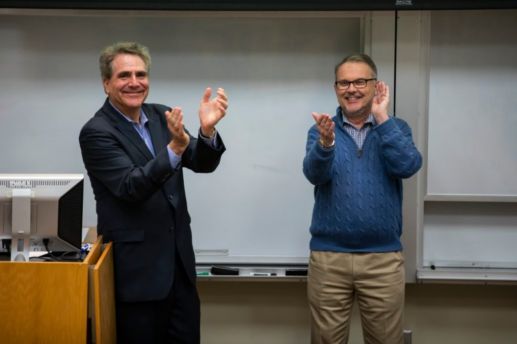M. Eric Johnson, dean of Owen School of Management (left) and Philippe Fauchet, dean of the School of Engineering